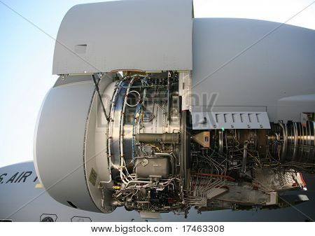 Opened Up Side View of C-17 Military Aircraft Engine