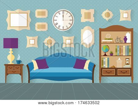 living room in flat style. Interior with furniture and accessories in blue color. Vector illustration. Shelves with souvenirs accessories and books.