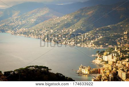 areal view of camogli and ligurian riviera from san rocco di camogli hill
