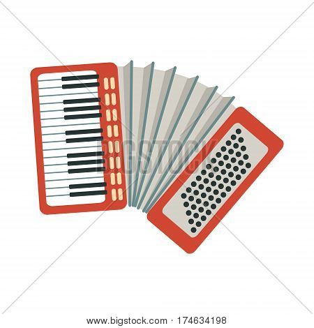 Accordion, Part Of Musical Instruments Set Of Realistic Cartoon Vector Isolated Illustrations. Music Orchestra Related Object , Simple Clipart Item In Bright Color.
