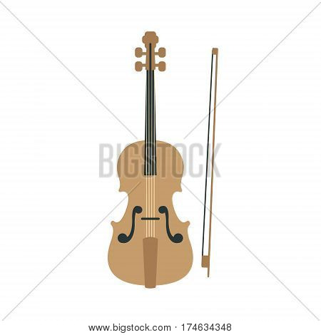 Violin, Part Of Musical Instruments Set Of Realistic Cartoon Vector Isolated Illustrations. Music Orchestra Related Object , Simple Clipart Item In Bright Color.
