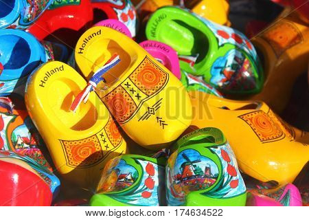 popular souvenir сolourful wooden clogs from Holland