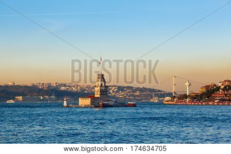 The Maiden's Tower in istanbul, Turkey on background blue sky