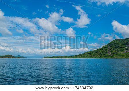 Stone sea shore at a paradise island -the South China sea - Vietnam Nha Trang bay