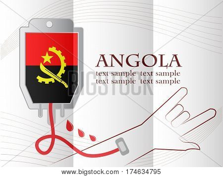 blood donation design made from the flag of Angola conceptual vector illustration.
