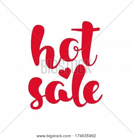 Modern HOT SALE poster. Discount banner with heart. Hand written lettering. Calligraphy design element. Vector illustration.
