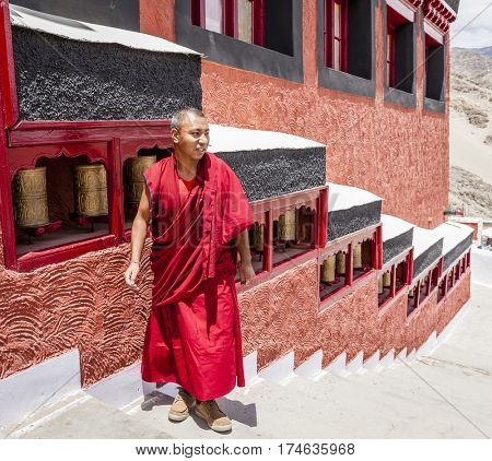 Ladakh, India - July 10, 2016: Buddhist monk in traditional robe at Thiksay monastery in Ladakh, Kashmir, India