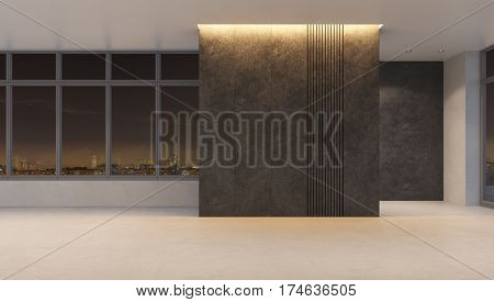 empty office space at nigh lighting, 3d rendering
