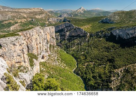 The river Verdon flows across the mountains in Haute Provence (France)