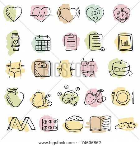 Set Of Hand Drawn Diet Icons Set.