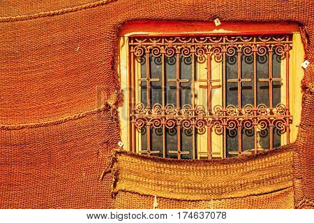 Bedouin Berber Nomad Tent Window Detail In The Desert Morocco