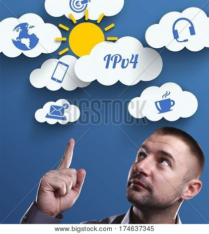 Business, Technology, Internet And Marketing. Young Businessman Thinking About: Ipv4