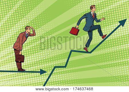 Businessmen running chart growth and look forward. Pop art retro vector illustration. Financial results