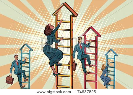 Business team climbs up the stairs. Pop art retro vector illustration