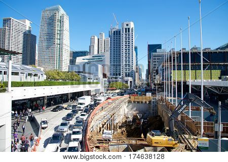 San Francisco CA - March 01 2017: A massive hole from Construction on Howard Street between Moscone North and South halls as part of the massive Moscone Center expansion and Improvements project.