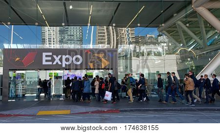 San Francisco CA - March 02 2017: Game Developers Convention 2017 EXPO entrance. GDC is the most important conference about video games development in the world at the Moscone Center South Hall.