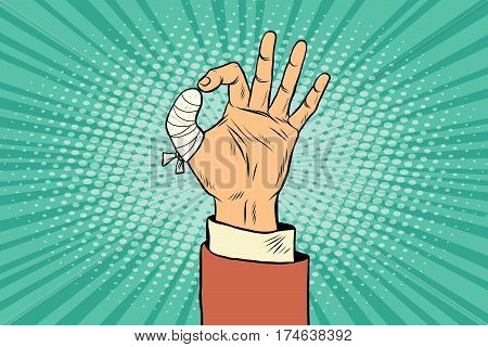 OK gesture bandaged finger. Pop art retro vector illustration