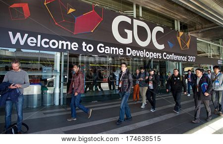 San Francisco CA - March 02 2017: Game Developers Convention 2017 entrance. GDC is the most important conference about video games development in the world at the Moscone Center North hall entrance