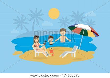 Family at the beach. Happy smiling parents with child swim in the ocean, play in the sand and enjoy the sun.