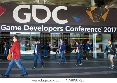 San Francisco CA - March 02 2017: Game Developers Convention 2017 entrance. GDC is the most important conference about video games development in the world at the Moscone Centre North hall entrance