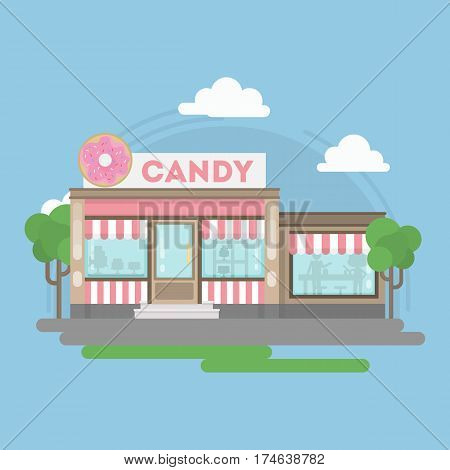 Candy shop building. Isolated urban building with sign and storefront. City landscape with clouds and trees.