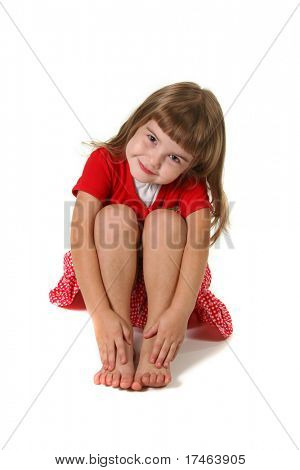 Happy Young Girl Child on White Background