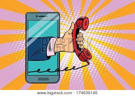 mobile retro handset, modern smartphone. Pop art retro vector illustration