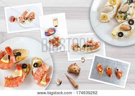 Beautiful snapshots of various italian sandwiches with seafood arranged on rustic wooden background with plates with food and seashells with copy space horizontal top view.