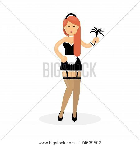 Isolated sexy maid on white background. Beautiful smiling woman in sexy housemaid outfit.