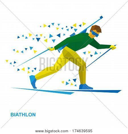 Winter Sports - Biathlon. Cartoon Biathlete With A Rifle