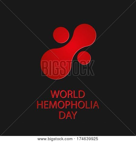 World Hemophilia Day. Abstract Icon Of Blood Substance On Dark Background. Vector Illustration Eps 1