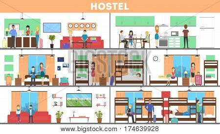 Hostel interior set. Rooms and kitchen and visitors. Cheap hotel.