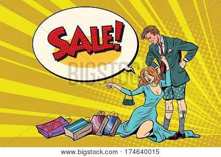 Devastated husband without pants and wife wants to sale. Pop art retro vector illustration