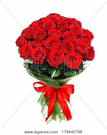 Flower bouquet of red roses isolated on white background.