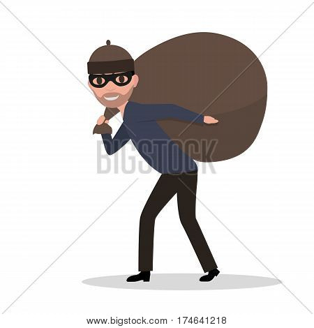 Vector illustration cartoon male thief carrying a bag with a loot. Isolated white background. Character man robber with a big sack. Flat style.