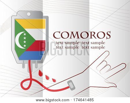 blood donation design made from the flag of Comoros conceptual vector illustration.