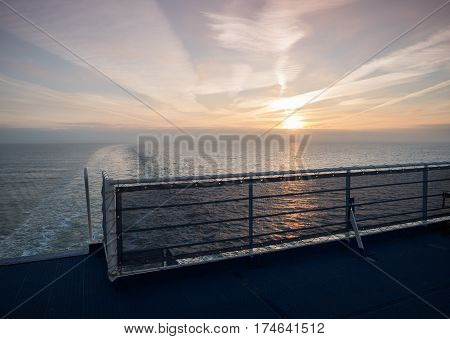 View from the rear deck of a ferry boat onto the North Sea