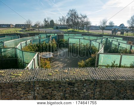 GRETNA GREEN, SCOTLAND - 21 JAN. 2017: View on the courtship maze at Gretna Green, Scotland, the historic town were eloped couples can get married.