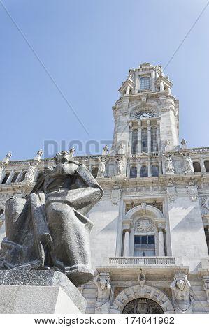 old city hall of Porto on Avenida dos Aliados Portugal