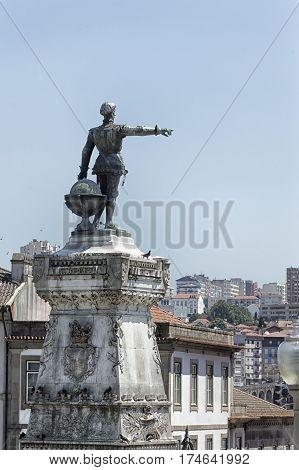 Enrique el Navegante statue in Oporto Portugal