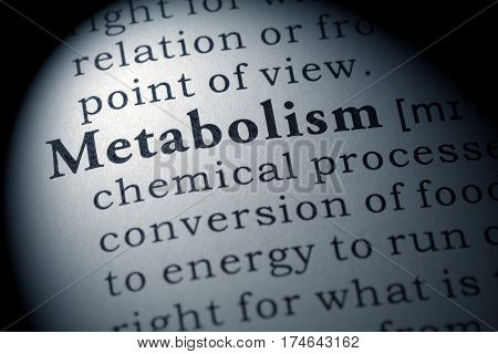 Fake Dictionary Dictionary definition of the word metabolism. including key descriptive words. poster
