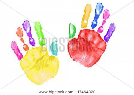 Pair of Preschooler Handprints After Painting With Them