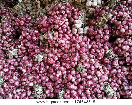Fresh organic red shallot onion bulbs among many shallot background in fresh supermarket with blur background Heap of onion root. Close-up red onion shallot texture