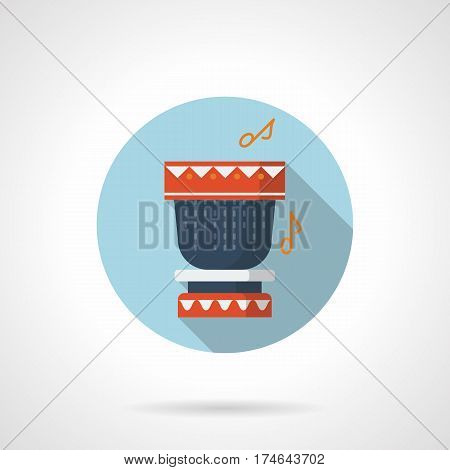 Blue drum with red decorations and notes. Percussion instruments for tribal rhythms. Round flat design vector icon, long shadow.