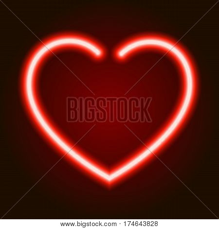 red neon glowing heart symbol of love on dark background of vector illustration