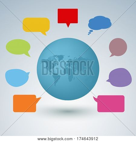 Communication concept with colorful speaking bubbles vector eps 10