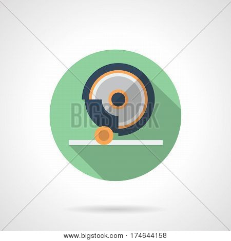 Element of grinding machine with abrasive disc. Metalworking equipment. Round flat design green vector icon, long shadow.