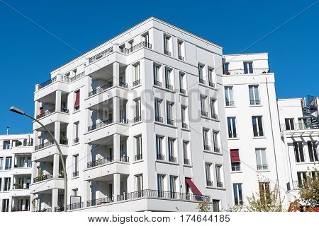 White modern apartment houses seen in Berlin, Germany