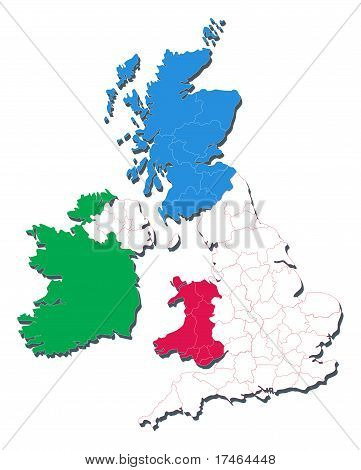 This map of the United Kingdom includes all four countries are colour coded to their national colours poster