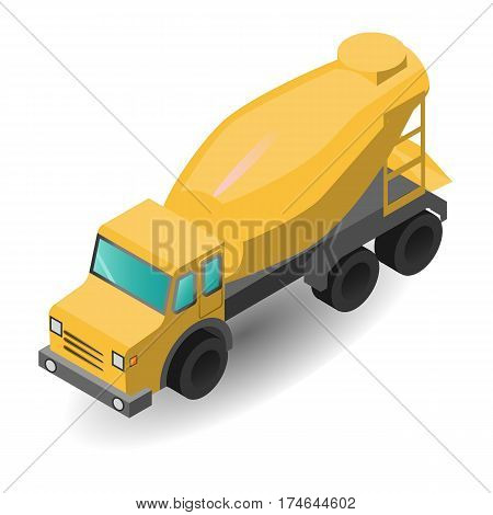vector illustration of the production of concrete loading yellow concrete mixers concrete transportation, construction isometric graphics plane